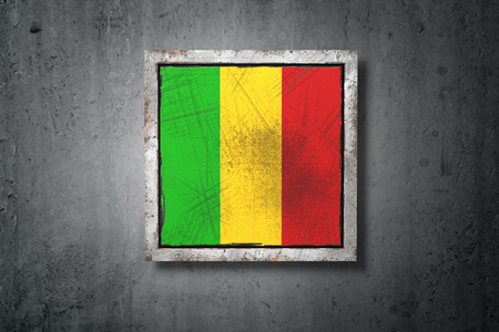 3d rendering of an old Mali flag in a concrete wall