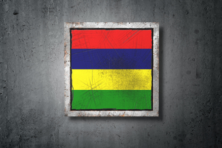 3d rendering of an old Republic of Mauritius flag in a concrete wall