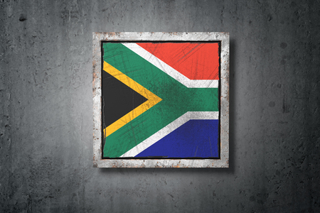 3d rendering of an old South Africa flag in a concrete wall