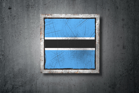 3d rendering of an old Botswana flag in a concrete wall