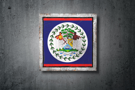 3d rendering of an old Belize flag in a concrete wall