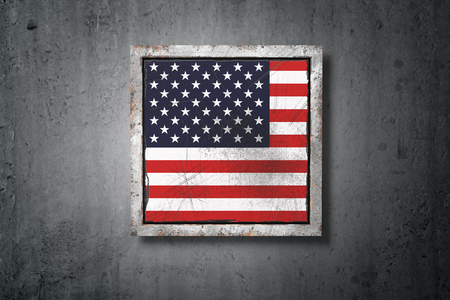 3d rendering of an old USA flag in a concrete wall