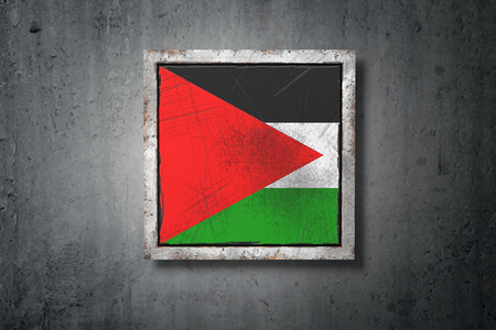 3d rendering of an old Palestine flag in a concrete wall
