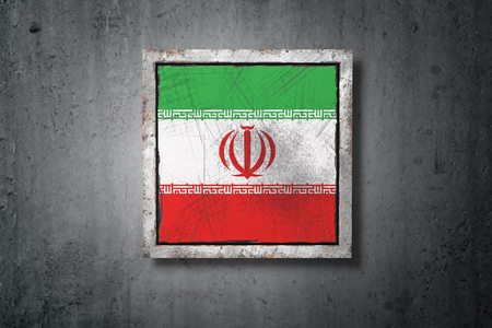 3d rendering of an old Iran flag in a concrete wall