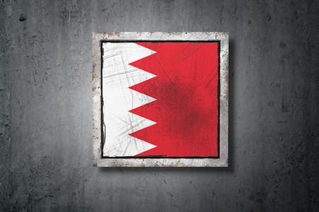 3d rendering of an old Bahrain flag in a concrete wall