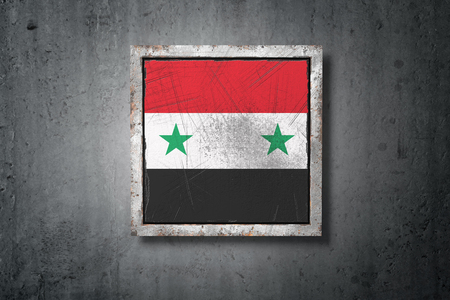 3d rendering of an old Syria flag in a concrete wall Reklamní fotografie - 107792987