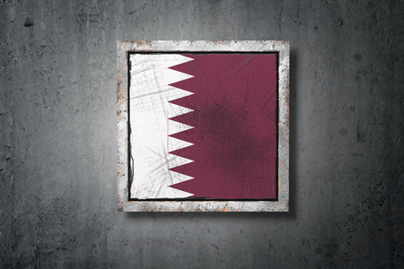 3d rendering of an old Qatar flag in a concrete wall Stock Photo