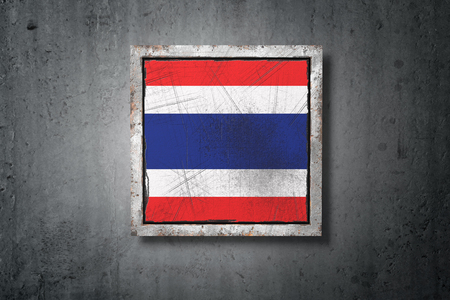 3d rendering of an old Thailand flag in a concrete wall