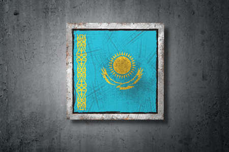 3d rendering of an old Kazakhstan flag in a concrete wall