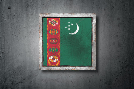 3d rendering of an old Turkmenistan flag in a concrete wall Stock Photo