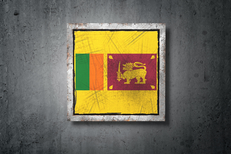3d rendering of an old Sri Lanka flag in a concrete wall