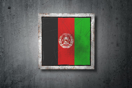 3d rendering of an old Afghanistan flag in a concrete wall