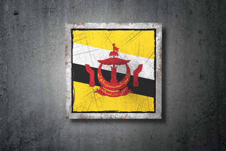 3d rendering of an old Brunei flag in a concrete wall Stock Photo