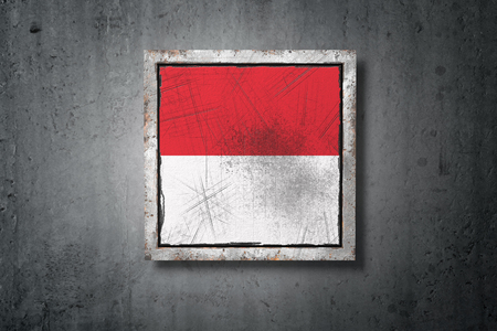 3d rendering of an old Indonesia flag in a concrete wall Stock Photo