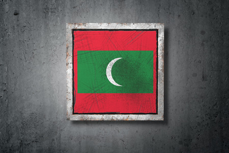 3d rendering of an old Maldives flag in a concrete wall