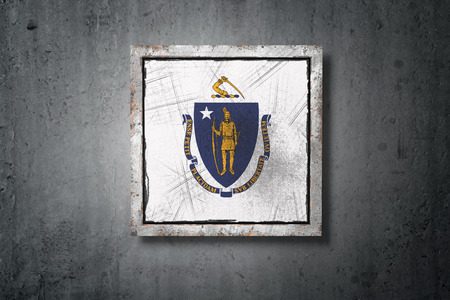 3d rendering of an old Massachusetts American State flag in a concrete wall