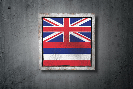 3d rendering of an old Hawaii American State flag in a concrete wall Stock Photo