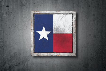 3d rendering of an old Texas American State flag in a concrete wall