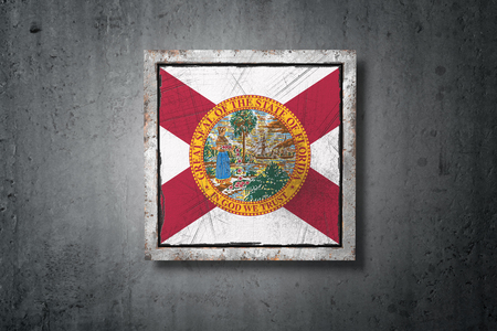 3d rendering of an old Florida American State flag in a concrete wall Stock Photo