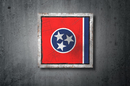 3d rendering of an old Tennessee American State flag in a concrete wall