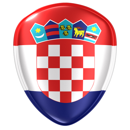 3d rendering of a Croatia flag icon on white background. 写真素材