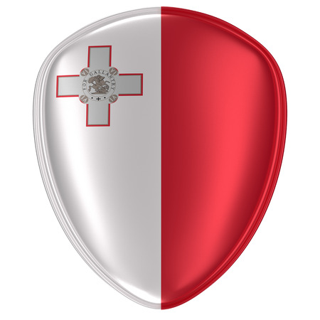 3d rendering of a Malta flag icon on white background.