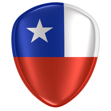 3d rendering of a Chile flag icon on white background.