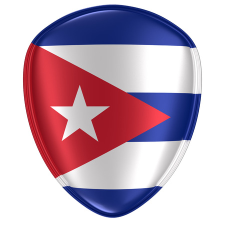 3d rendering of a Cuba flag icon on white background.