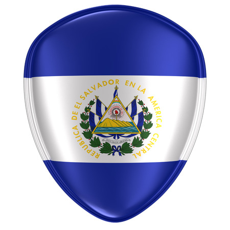 3d rendering of a Republic of El Salvador flag icon on white background.