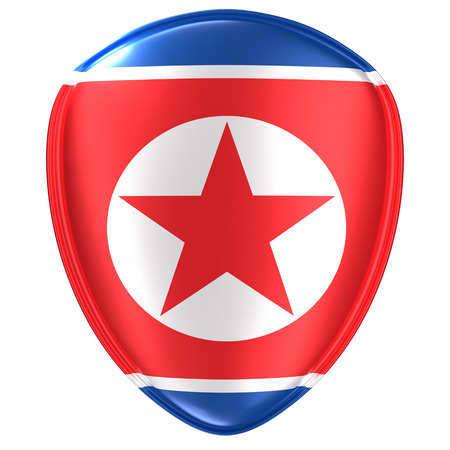 3d rendering of a North Korea flag icon on white background.