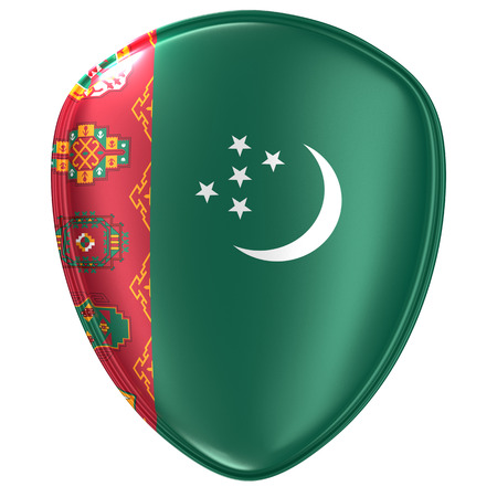 3d rendering of a Turkmenistan flag icon on white background. Stock Photo