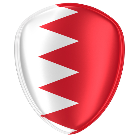 3d rendering of a Bahrain flag icon on white background. Stock Photo