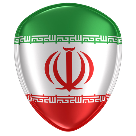 3d rendering of an Iran flag icon on white background.