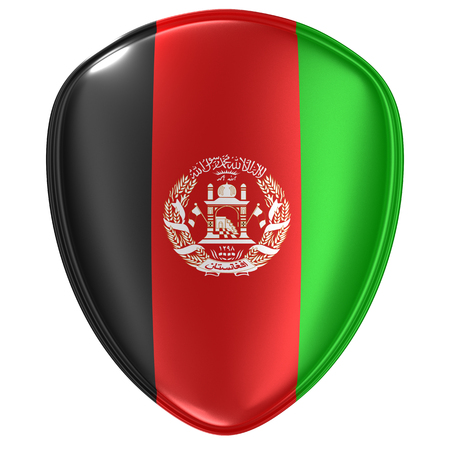 3d rendering of an Afghanistan flag icon on white background.