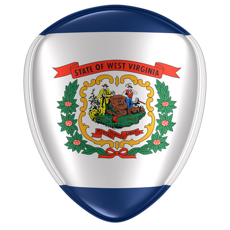 3d rendering of a West Virginia USA State flag icon on white background.
