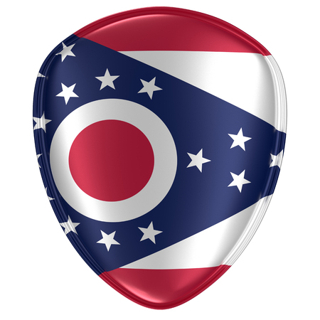 3d rendering of an Ohio USA State flag icon on white background.