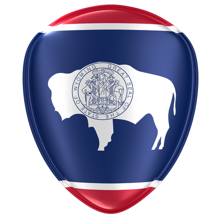 3d rendering of a Wyoming USA State flag icon on white background.