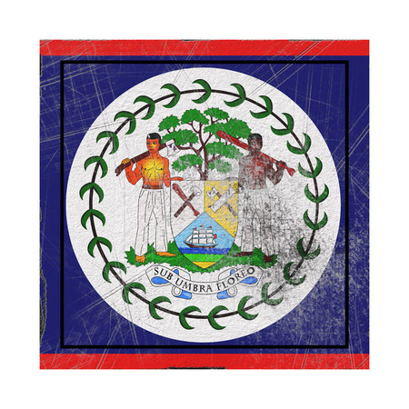 3d rendering of an old Belize flag in a concrete square Stock Photo
