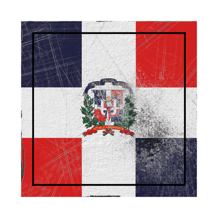 3d rendering of an old Dominican Republic flag in a concrete square