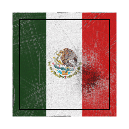 3d rendering of an old Mexico flag in a concrete square