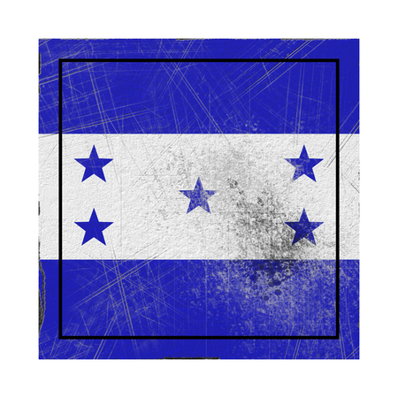 3d rendering of an old Honduras flag in a concrete square Stock Photo