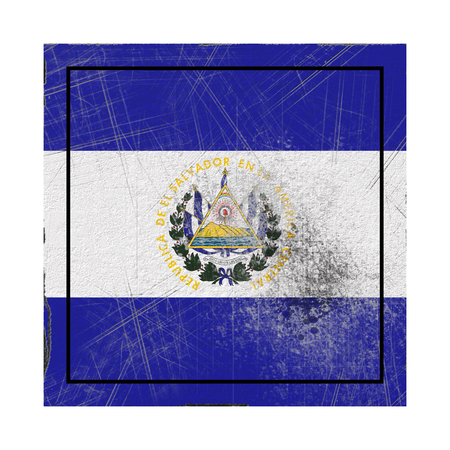 3d rendering of an old Republic of El Salvador flag in a concrete square Stock Photo