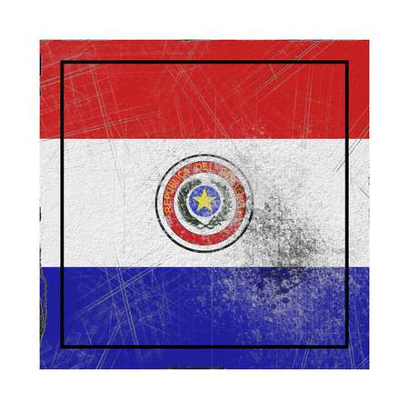 3d rendering of an old Republic of Paraguay flag in a concrete square Stock Photo