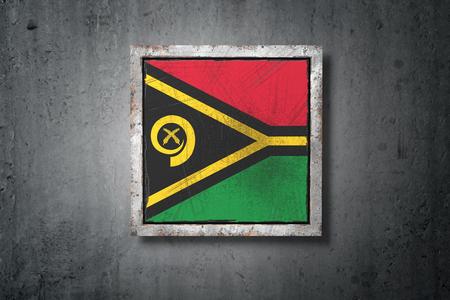 3d rendering of a Vanuatu flag in a concrete wall