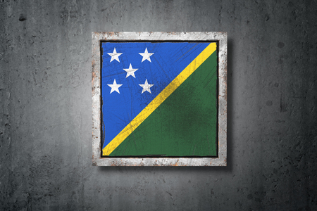 3d rendering of a Solomon Islands flag in a concrete wall