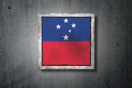 3d rendering of a Samoa flag in a concrete wall