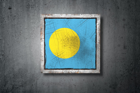 3d rendering of a Palau flag in a concrete wall