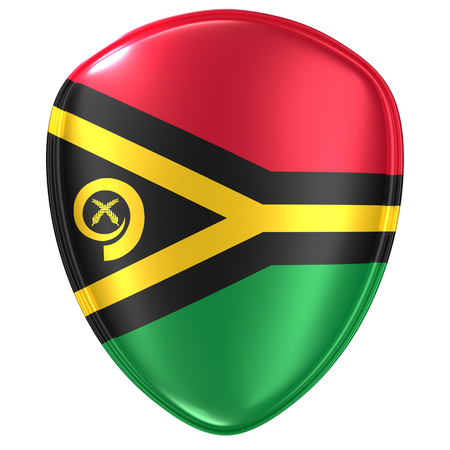 3d rendering of a Vanuatu flag icon on white background.