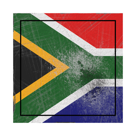 3d rendering of an old South Africa flag in a concrete square