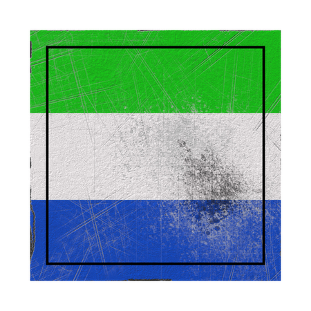 3d rendering of an old Sierra Leone flag in a concrete square